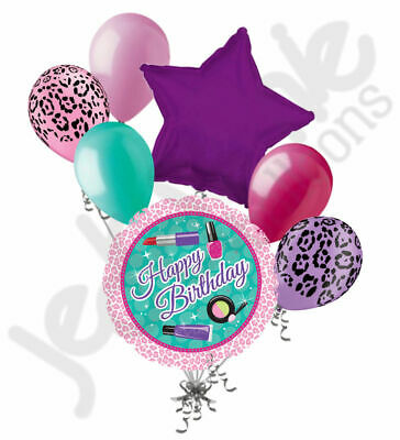 7 pc Diva Girl Vanity Make Up Happy Birthday Balloon Bouquet Party Decoration