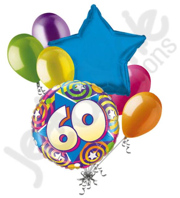 7pc Colorful 60th Stars Swirls Happy Birthday Balloon Bouquet