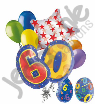 8 pc 60th Birthday Theme Balloon Bouquet Party Decoration Number Primary Color - 60th Birthday Color Theme
