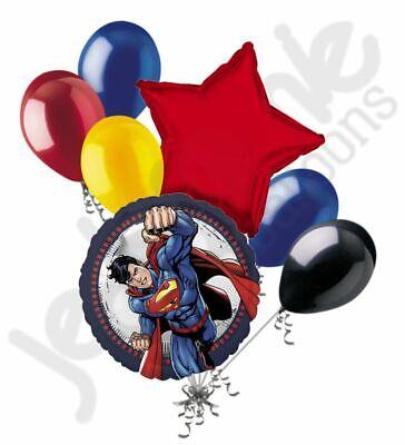 7 pc Superman Cartoon Balloon Bouquet Party Decoration Hero Happy Birthday Clark (Superman Party Decorations)