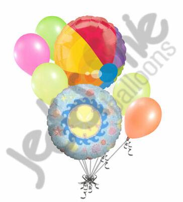 7 pc Beach Ball & Sea Shell Balloon Bouquet Party Decoration Gift Happy Birthday