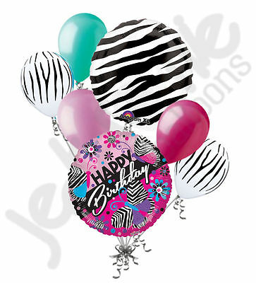 7 pc Bright Zebra Pattern Butterfly Happy Birthday Balloon Bouquet Decoration