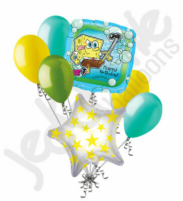 7 pc Spongebob Squarepants Balloon Bouquet Happy Birthday Party Decoration Gift - Yellow Birthday Party Decorations