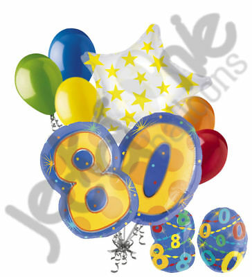 8 pc 80th Birthday Theme Balloon Bouquet Party Decoration Number Primary Color](80th Birthday Color)