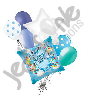 Welcome Home Baby Boy (7 pc Baby Boy Blue Bodysuit Balloon Bouquet Party Decoration Shower Welcome)