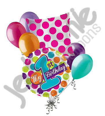 7 pc My 1st Happy Birthday Bright Dots Balloon Bouquet Party Decoration Girl - My First Birthday Decorations