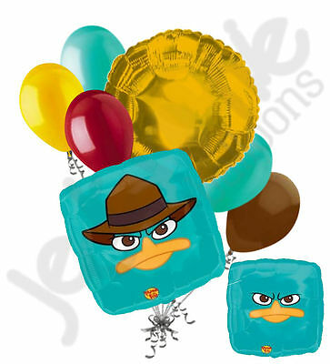7pc Agent P Happy Birthday Balloon Bouquet Party Decoration Cartoon Phineas - Happy Birthday P