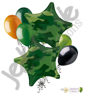 7pc Camo Stars Balloon Bouquet Army Marines Military Happy Birthday Welcome Home (Camo Ballons)