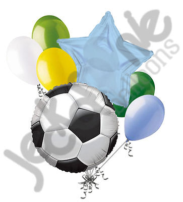 7 pc Soccer Ball Balloon Bouquet Party Decoration Happy Birthday Father Player (Soccer Party Decor)