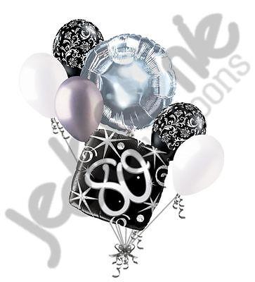 Happy 80th Birthday Balloons (7 pc 80th Elegant Happy Birthday Sparkles Balloon Bouquet Black Damask Silver)