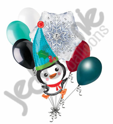 7 pc Adorable Penguin Snow Balloon Bouquet Party Decoration Winter Birthday](Winter Birthday Decorations)