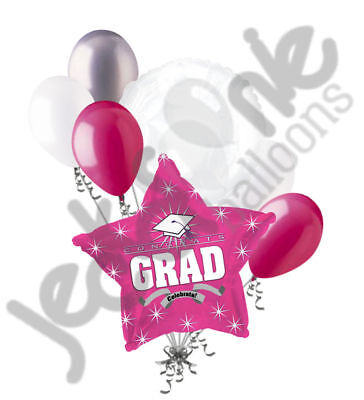 7 pc Hot Pink Congratulations Grad Balloon Bouquet Party Decoration Graduation (Congratulations Balloons)