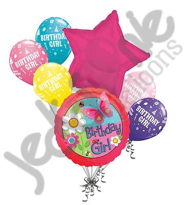 7 pc Garden Butterfly Happy Birthday Balloon Bouquet Decoration Pink Flowers](Butterfly Balloon)