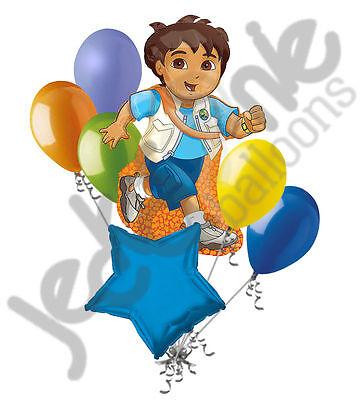 7 pc Go Diego Dinosaur Balloon Bouquet Decoration Party Happy Birthday Adventure - Diego Halloween Party
