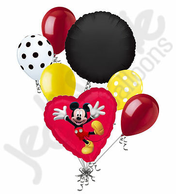 7 pc Mickey Mouse Red Heart Balloon Bouquet Party Decoration Disney Birthday - Mickey Mouse Balloon Decorations