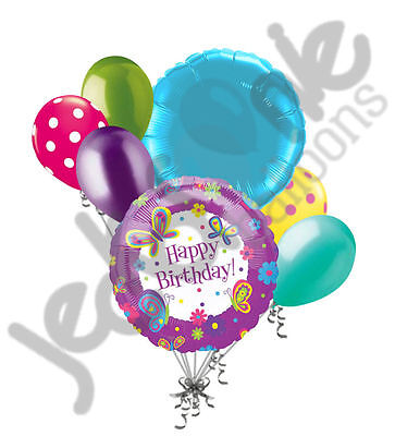 7 pc Happy Birthday Butterfly Purple Turquoise Balloon Bouquet Decoration Flower (Happy Birthday Butterfly)