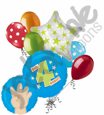 7 pc You're 4 Today Fingers Balloon Bouquet Party Decoration Bright 4th - Todays Birthday
