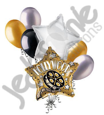 7 pc Hollywood Gold Star Movie Balloon Bouquet Decoration Party Decor Birthday - Balloons Hollywood