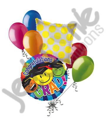 7 pc Colorful Smiley Grad Balloon Bouquet Happy Graduation Congratulations](Congratulations Balloons)