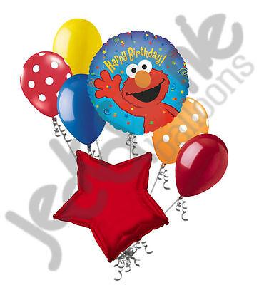 7 pc Elmo Balloon Bouquet Happy Birthday PBS Sesame Street TV show - Elmo Birthday Theme