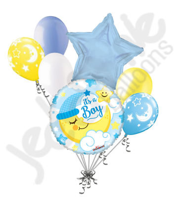 Welcome Home Baby Party Decorations (7 pc Baby Boy Sleeping Moon Balloon Bouquet Party Decoration Welcome Home)