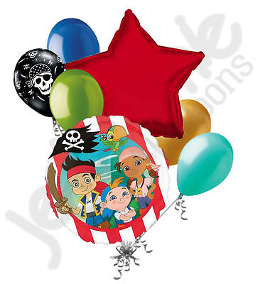 7pc Jake & the Neverland Pirates Balloon Bouquet Party Decoration Happy Birthday ()