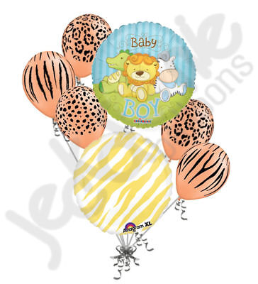 7 pc New Baby Jungle Animal Balloon Bouquet Welcome Home Baby Shower Boy - Welcome Balloon