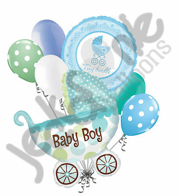 Welcome Home Baby Party Decorations (7 pc Baby Boy Buggy Balloon Bouquet Party Decoration Welcome Home Shower)
