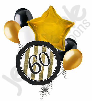 Elegant 60th Birthday Decorations (7 pc 60th Black & Gold Elegant Stripes Balloon Bouquet Party Decoration)