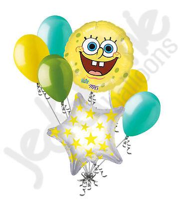 7 pc Spongebob Squarepants Smile Balloon Bouquet Happy Birthday Party Decoration - Happy Birthday Spongebob
