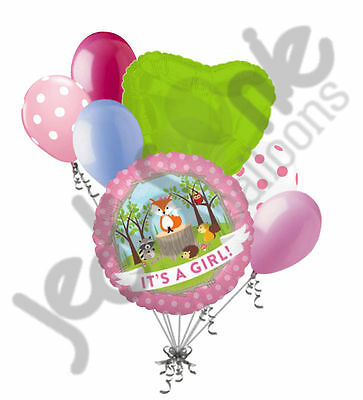 7 pc Baby Girl Woodland Critters Fox Balloon Bouquet Party Animal Shower It's (Baby Girl Balloon Bouquet)
