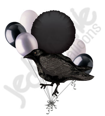 Anagram Halloween Balloons (7 pc Black Crow Happy Halloween Balloon Bouquet Party Decoration Bird)