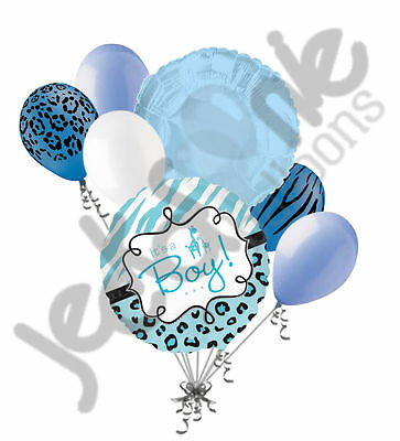 7 pc It's a Boy Sweet Safari Baby Shower Welcome Home Balloon Bouquet Giraffe ()
