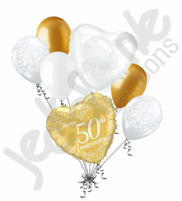 50th Wedding Anniversary Balloons (7pc 50th Gold Happy Anniversary Balloon Bouquet Party Decoration Married)