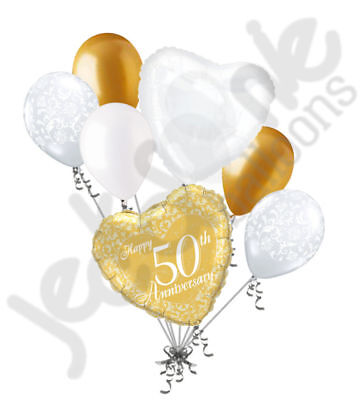 7pc 50th Gold Happy Anniversary Balloon Bouquet Party Decoration Married Wedding