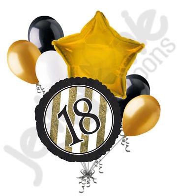 Elegant Party Decorations (7 pc 18th Black & Gold Elegant Stripes Balloon Bouquet Party Decoration)