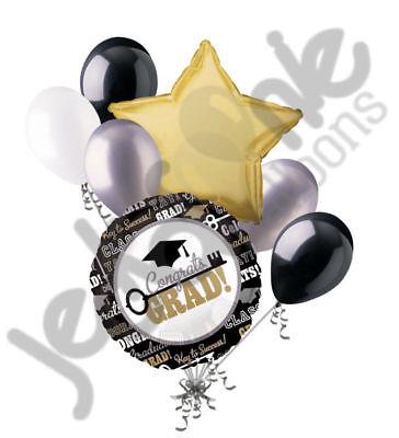 7 pc Key to Success Graduation Balloon Bouquet Congratulations Congrats Grad