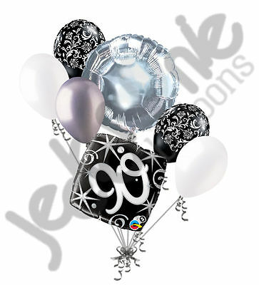 Happy 90th Birthday Balloons (7 pc 90th Elegant Happy Birthday Sparkles Balloon Bouquet Black Damask Silver)