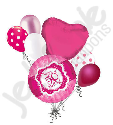 7 pc Happy 50th Birthday Hot Pink & Dots Balloon Bouquet Fifty Ribbon & Lace
