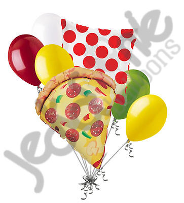 7 pc Pizza Party Balloon Bouquet Party Decoration Slice Happy Birthday Polka Dot - Pizza Bouquet
