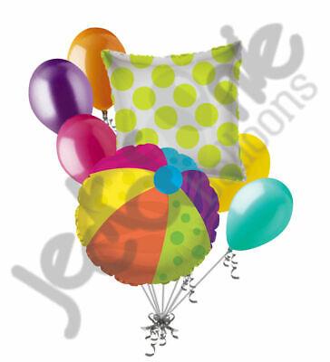 Happy Birthday Beach (7 pc Beach Ball Balloon Bouquet Party Decoration Gift Happy Birthday Luau)
