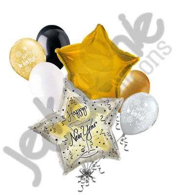 7 pc Happy New Years Toast Gold & Silver Balloon Bouquet Party Decoration 2019 - New Years Decor