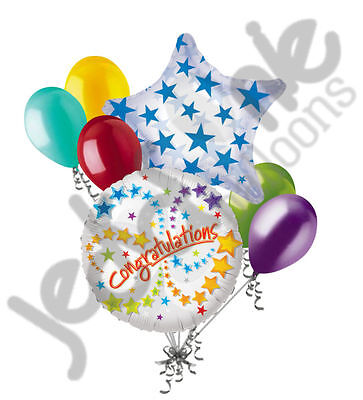 7 pc Congratulations Stars Balloon Bouquet Appreciation Retirement Graduation (Congratulations Balloons)