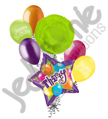 7 pc Bright & Bold 30th Happy Birthday Balloon Bouquet Purple Star Party Decor - Purple 30th Birthday Decorations