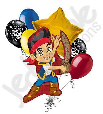 7 pc Disney Jake & Neverland Pirates Happy Birthday Balloon Bouquet Adventure ()