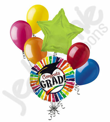 7 pc Rainbow Stripes Graduation Balloon Bouquet Congratulations Congrats Grad (Congratulations Balloons)