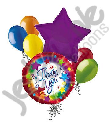 7pc Thank You Colorful Burst Balloon Bouquet Appreciation Teacher Boss Assistant - Thank You Balloon