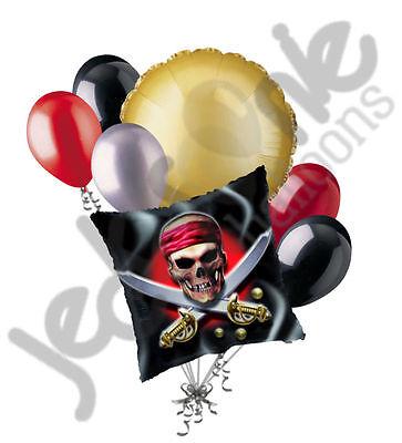 Happy Birthday Skulls (7 pc Happy Birthday Pirate Skull Balloon Bouquet Party Decoration Swords)