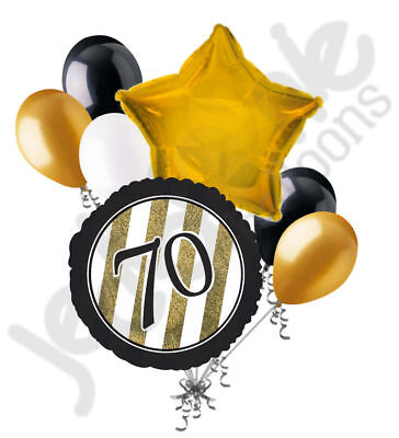 70th Birthday Decor (7 pc 70th Black & Gold Elegant Stripes Balloon Bouquet Party Decoration)