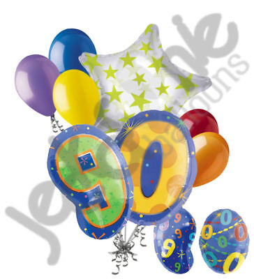 8 pc 90th Birthday Theme Balloon Bouquet Party Decoration Number Primary Color](90th Birthday Balloons)